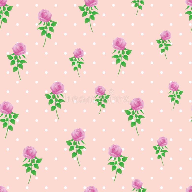 Modèle sans couture de polka de rose de rose de fond de papier numérique de point image libre de droits