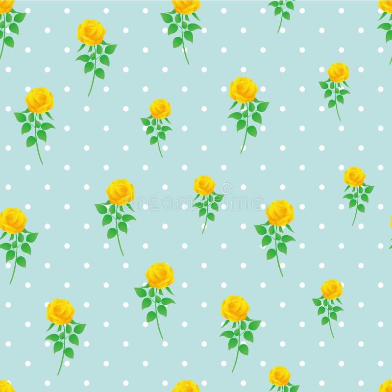 Modèle sans couture de polka de rose de jaune de fond de papier numérique de point illustration libre de droits