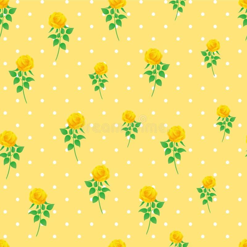 Modèle sans couture de polka de rose de jaune de fond de papier numérique de point photo stock