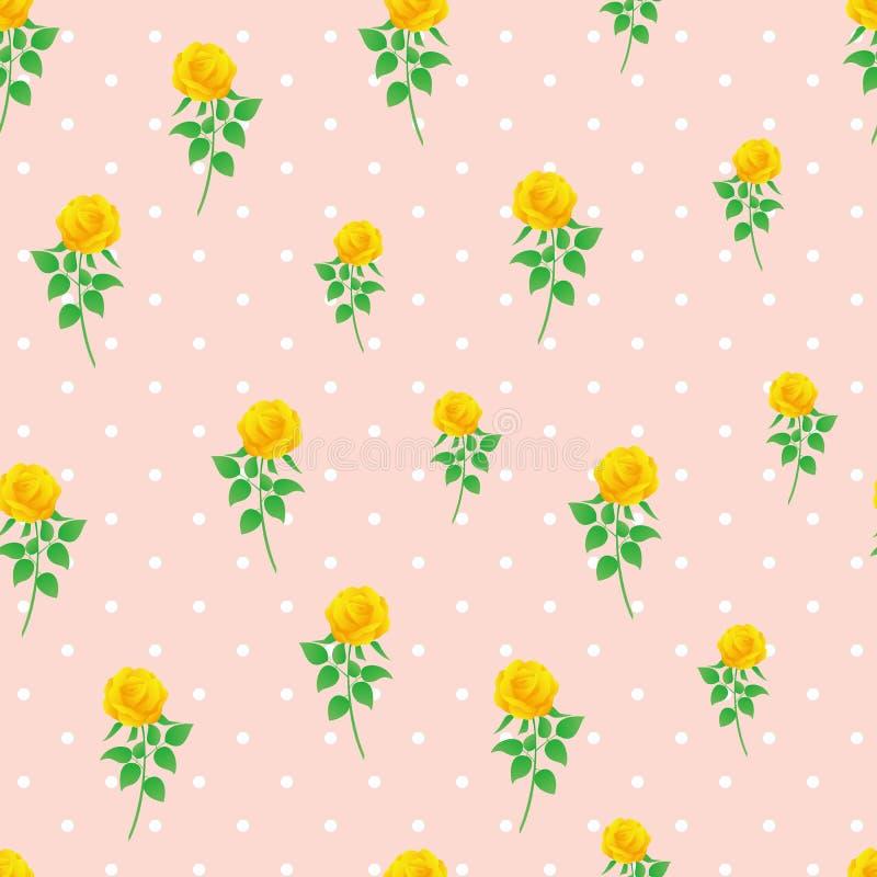 Modèle sans couture de polka de rose de jaune de fond de papier numérique de point illustration stock