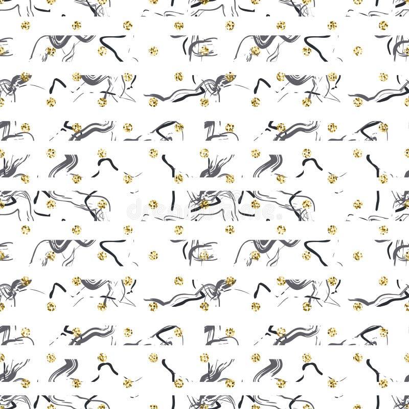 Modèle sans couture de polkadot de scintillement de miroitement de feuille d'or illustration libre de droits