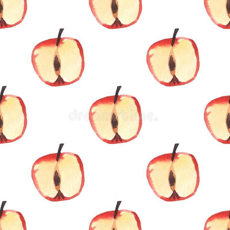 Modèle sans couture de pomme d'aquarelle d'isolement sur le fond blanc avec le chemin de coupure illustration stock