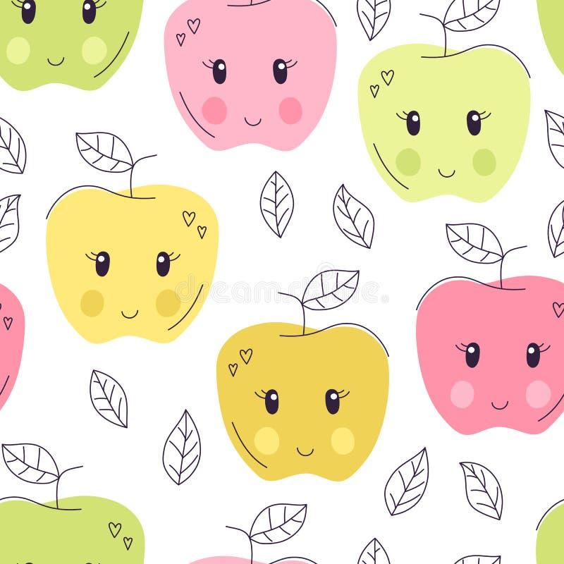 Modèle sans couture de pomme tirée par la main mignonne Fond doux de vecteur de nourriture Conception délicieuse d'été Emballage, illustration libre de droits
