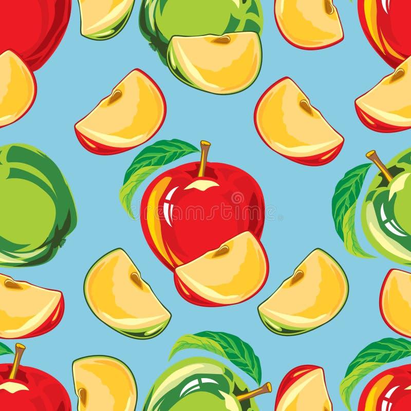 Modèle sans couture de pomme verte et rouge illustration stock