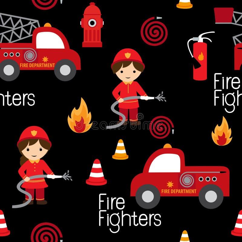 Modèle sans couture de pompiers illustration stock