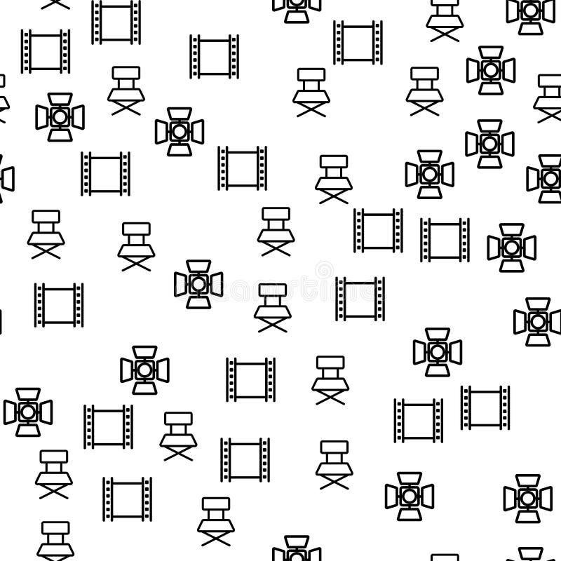 Modèle sans couture de projecteur de cadre de production de film illustration de vecteur