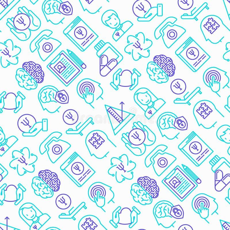 Modèle sans couture de psychologue avec la ligne mince icônes illustration stock