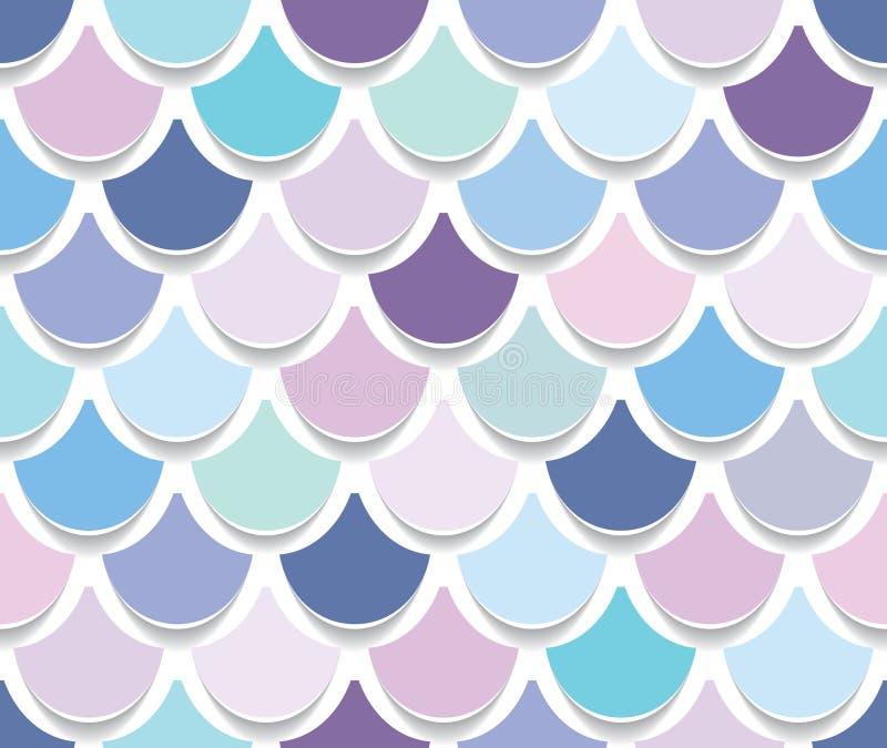 Modèle sans couture de queue de sirène Fond de peau de poissons coupé par papier Couleurs à la mode de rose en pastel et de pourp illustration stock