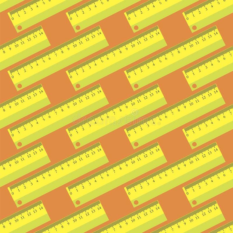 Modèle sans couture de règle en bois jaune illustration stock