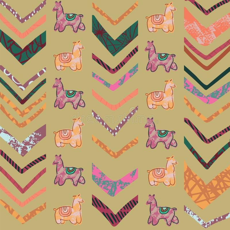 Modèle sans couture de répétition de chevron de lama illustration stock
