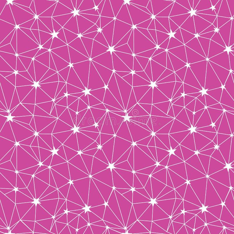 Modèle sans couture de réseau en étoile de vecteur de rose et blanc illustration stock