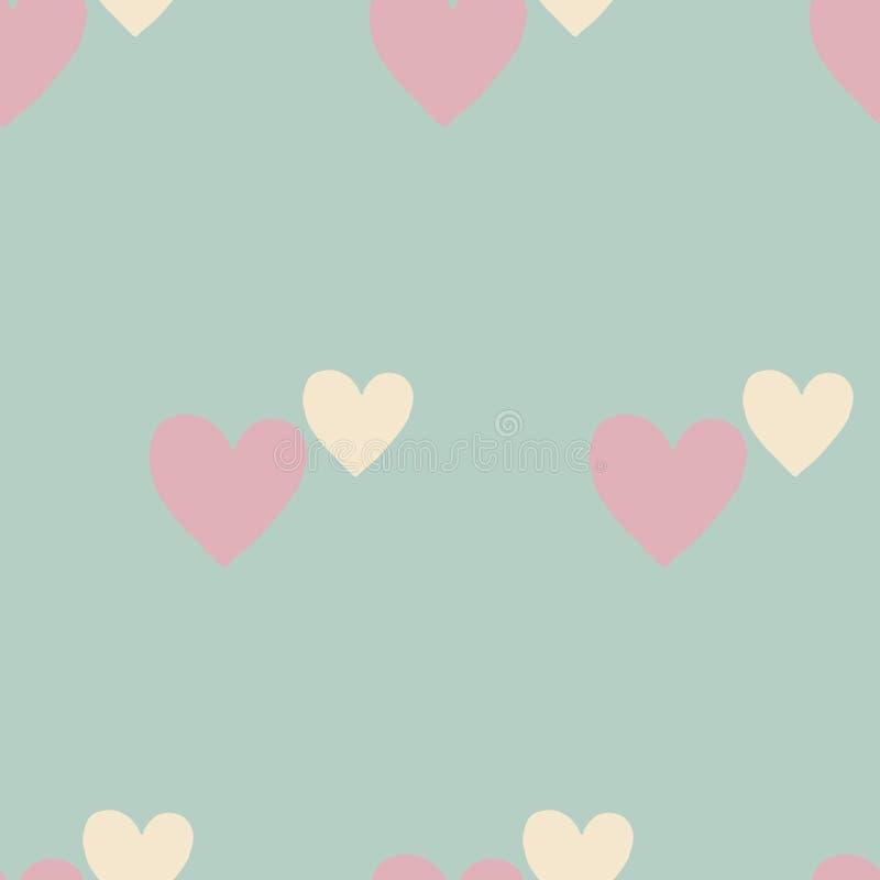 Modèle sans couture de rétro coeur en pastel, coeurs roses sur un fond bleu illustration de vecteur