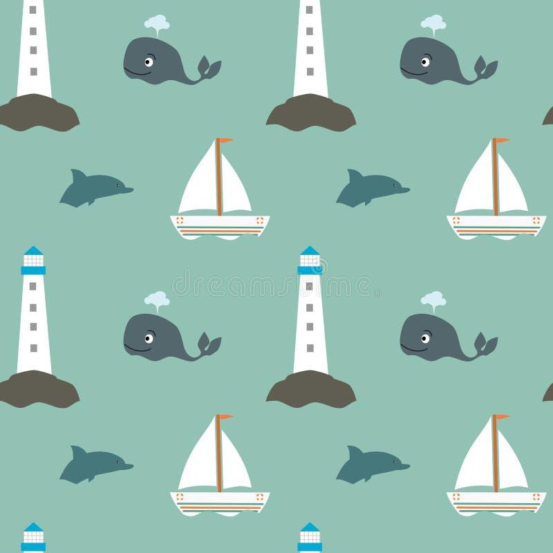 Modèle sans couture de rétro mer de vintage de bande dessinée avec le bateau et le dauphin de phare de baleine illustration stock