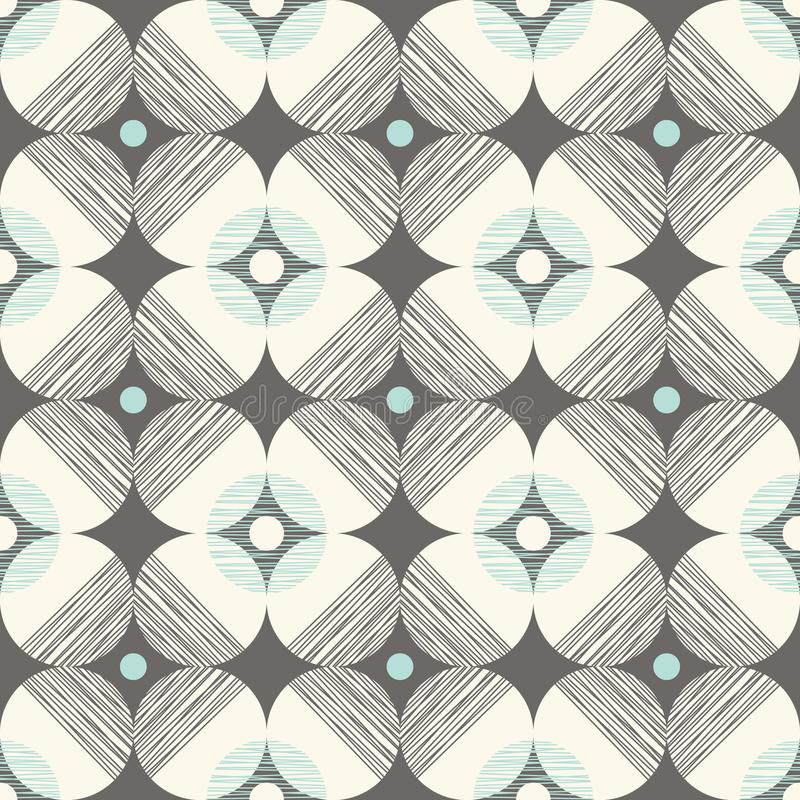 Modèle sans couture de rétro de mod vecteur de style avec les cercles texturisés sur le fond kaki foncé Copie graphique géométriq illustration libre de droits