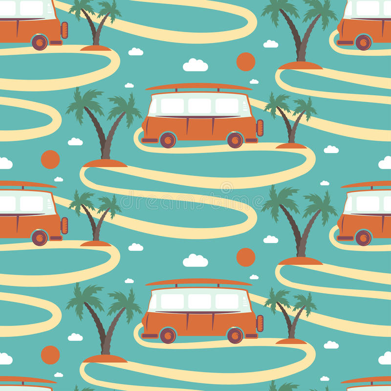Modèle sans couture de rétro planche de surf d'autobus en plage avec des paumes illustration libre de droits