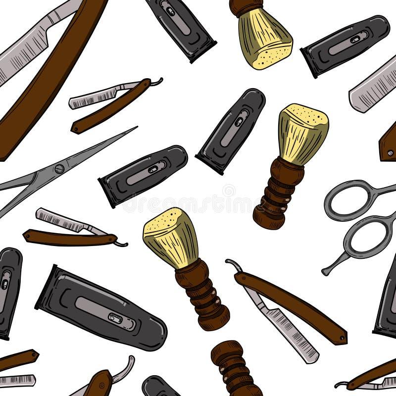 Modèle sans couture de rétro raseur-coiffeur tiré par la main illustration de vecteur