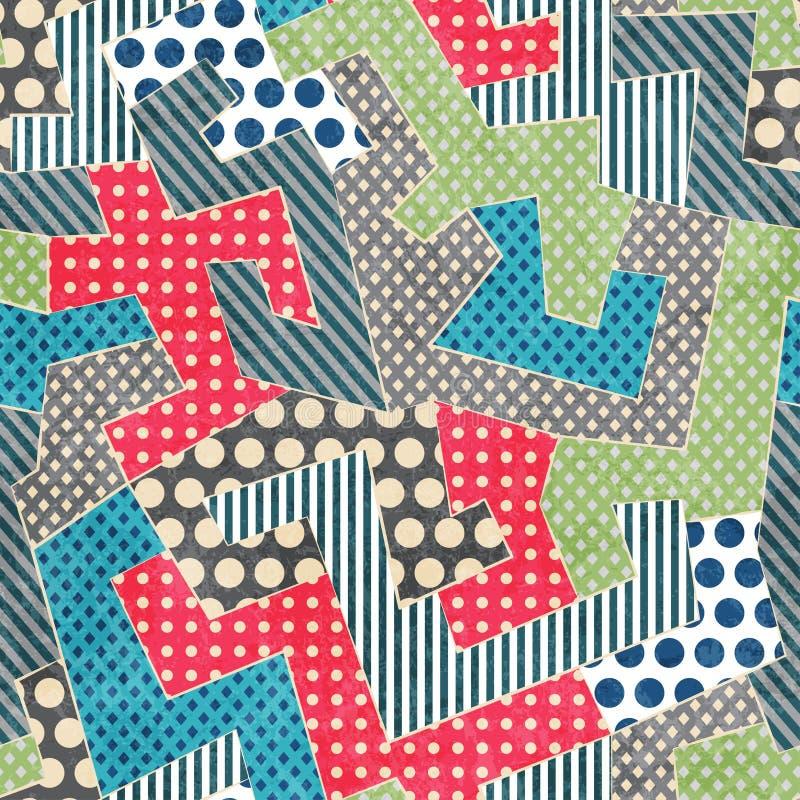 Modèle sans couture de rétro textile coloré illustration libre de droits