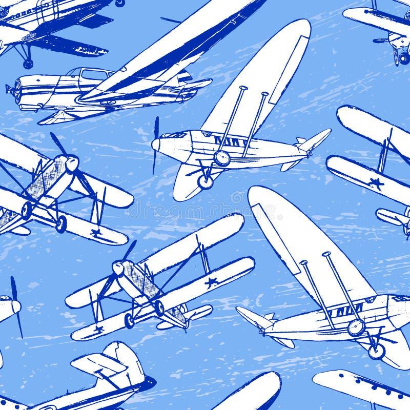 Modèle sans couture de rétros avions soviétiques illustration de vecteur
