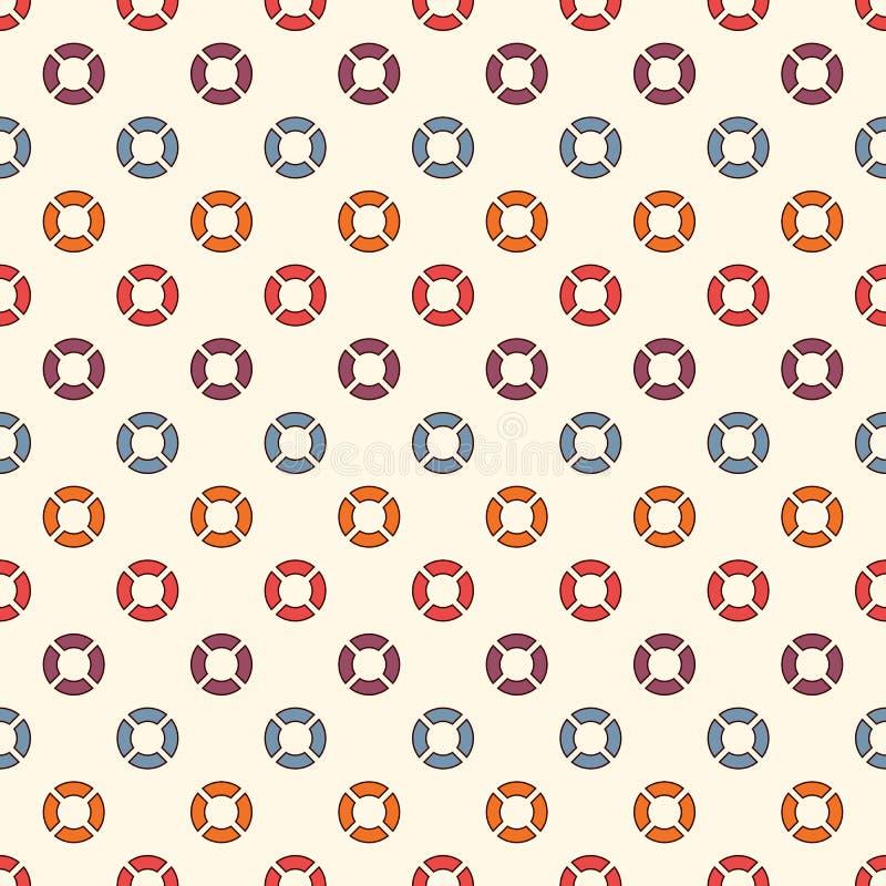 Modèle sans couture de rétros couleurs avec les cercles répétés Motif de bulle Fond abstrait géométrique Texture extérieure moder illustration de vecteur