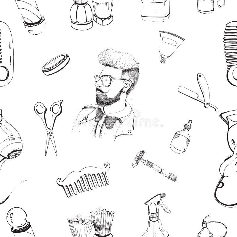 Modèle sans couture de raseur-coiffeur tiré par la main avec des accessoires peigne, rasoir, brosse de rasage, ciseaux, hairdryer illustration libre de droits