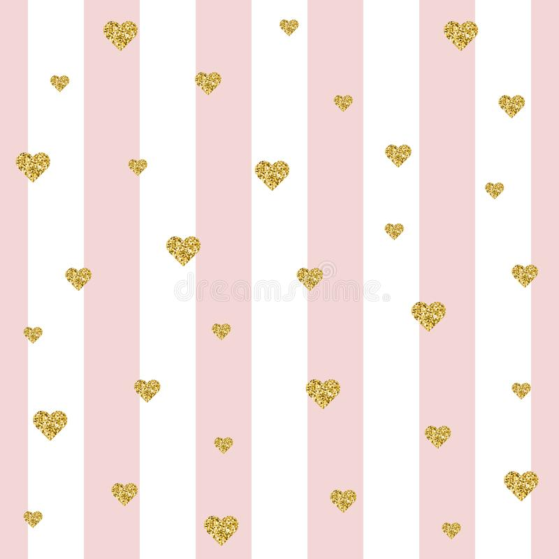 Modèle sans couture de rayure de scintillement de coeur d'or sur les lignes blanches et roses illustration stock