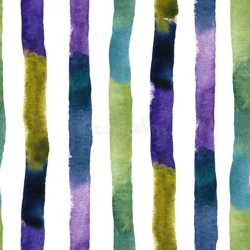 Modèle sans couture de rayures colorées texturisées d'aquarelle illustration de vecteur