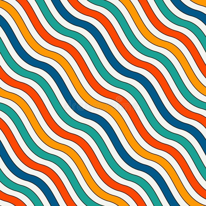 Modèle sans couture de rayures onduleuses diagonales lumineuses de couleurs Lignes répétées vives papier peint avec le motif clas illustration libre de droits