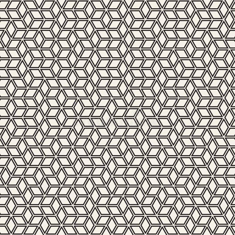 Modèle sans couture de rayures de vecteur Texture élégante moderne avec le treillis monochrome Répétition de la grille hexagonale image stock