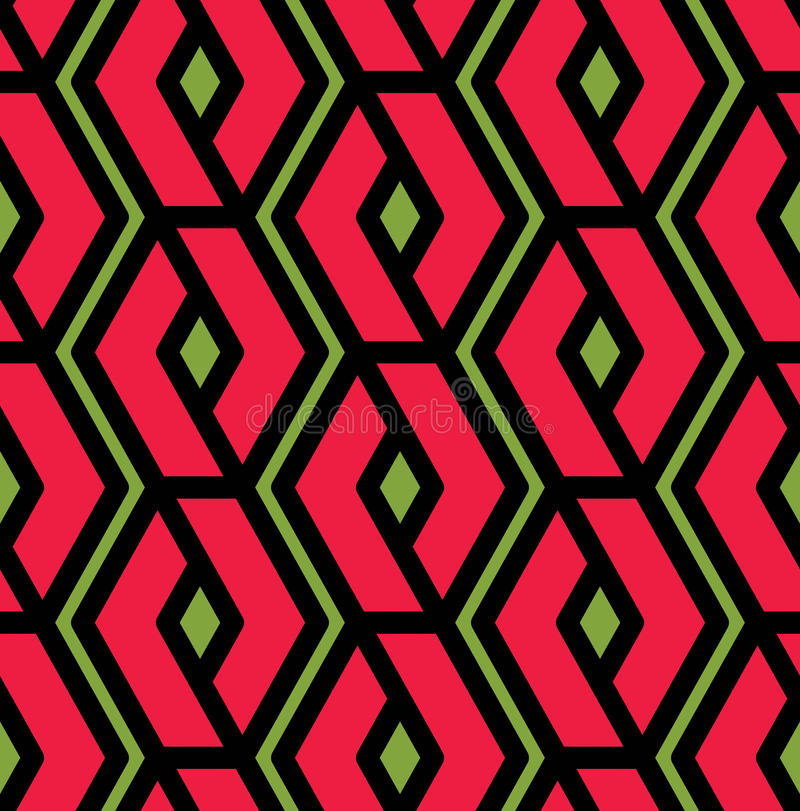 Modèle sans couture de recouvrement géométrique coloré, v sans fin symétrique illustration libre de droits