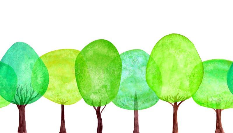 Modèle sans couture de recouvrement vert d'ensemble d'arbre d'été Texture fraîche colorée de collection d'arbre de bande dessinée illustration libre de droits
