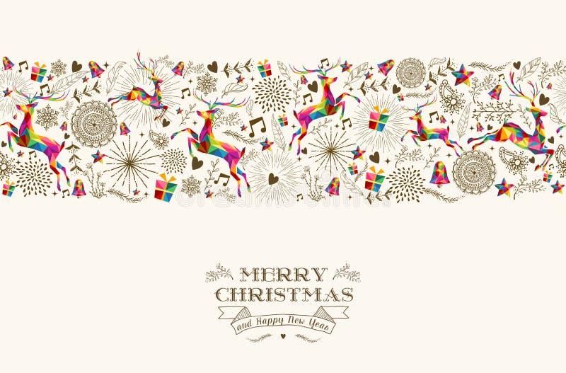 Modèle sans couture de renne de Noël de vintage illustration de vecteur