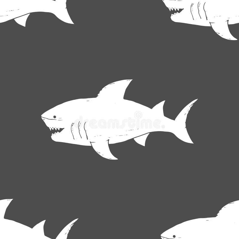 Modèle sans couture de requin, requin esquissé tiré par la main de griffonnage, illustration de vecteur illustration de vecteur
