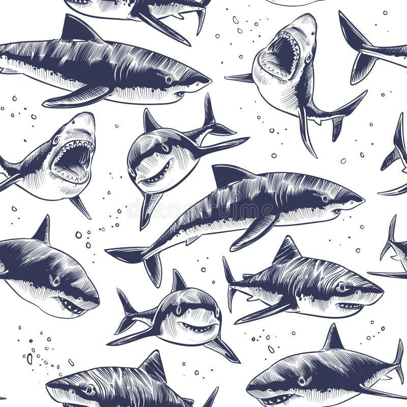 Modèle sans couture de requins Fond japonais nautique de poisson de mer sous-marin tiré par la main illustration de vecteur