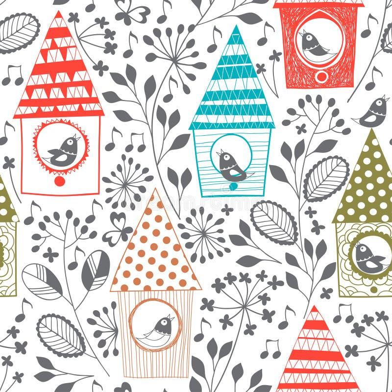 Modèle sans couture de ressort avec des oiseaux, floral et des volières Cartoo illustration stock