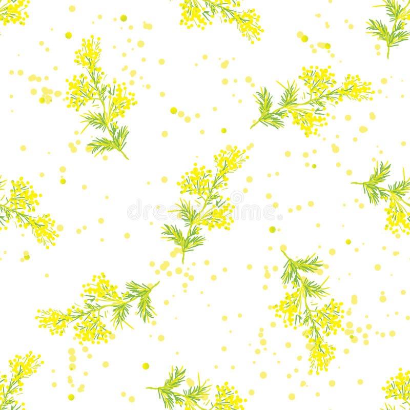 Modèle sans couture de ressort avec le brin de la mimosa illustration de vecteur