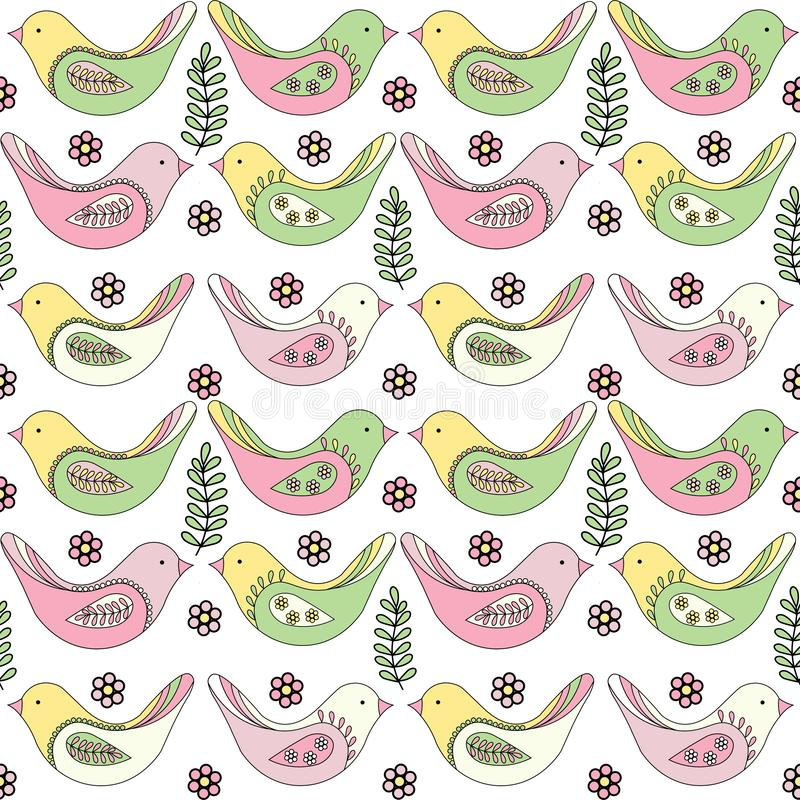 Modèle sans couture de ressort des oiseaux multicolores sur un fond blanc illustration stock