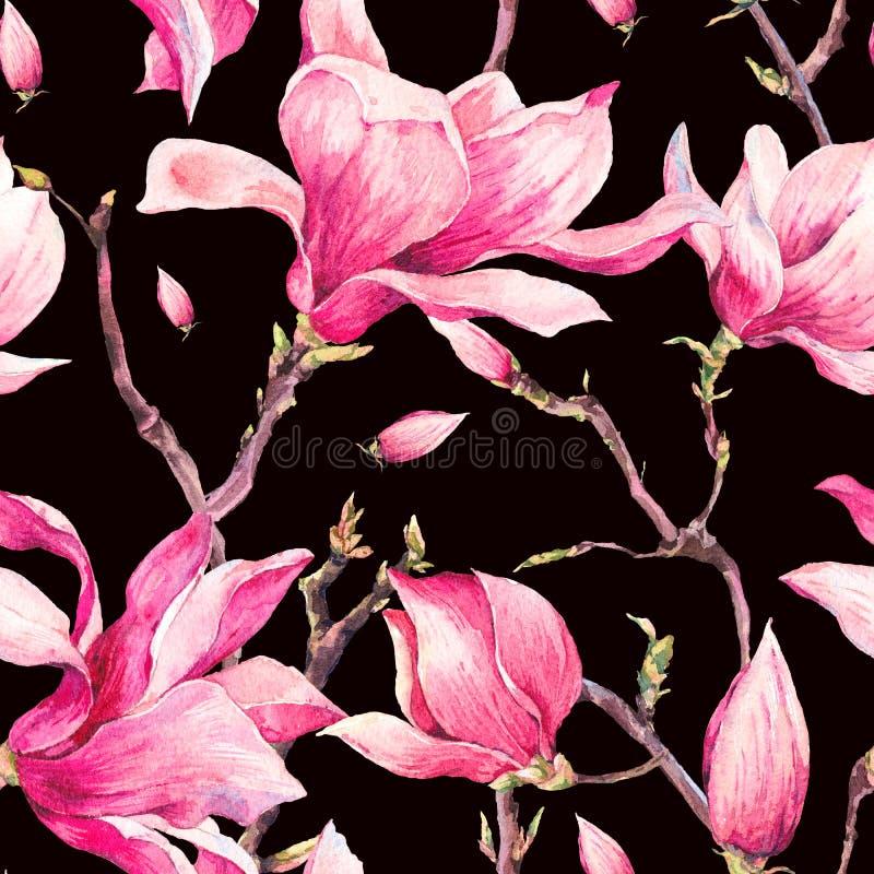 Modèle sans couture de ressort floral d'aquarelle avec la magnolia illustration de vecteur