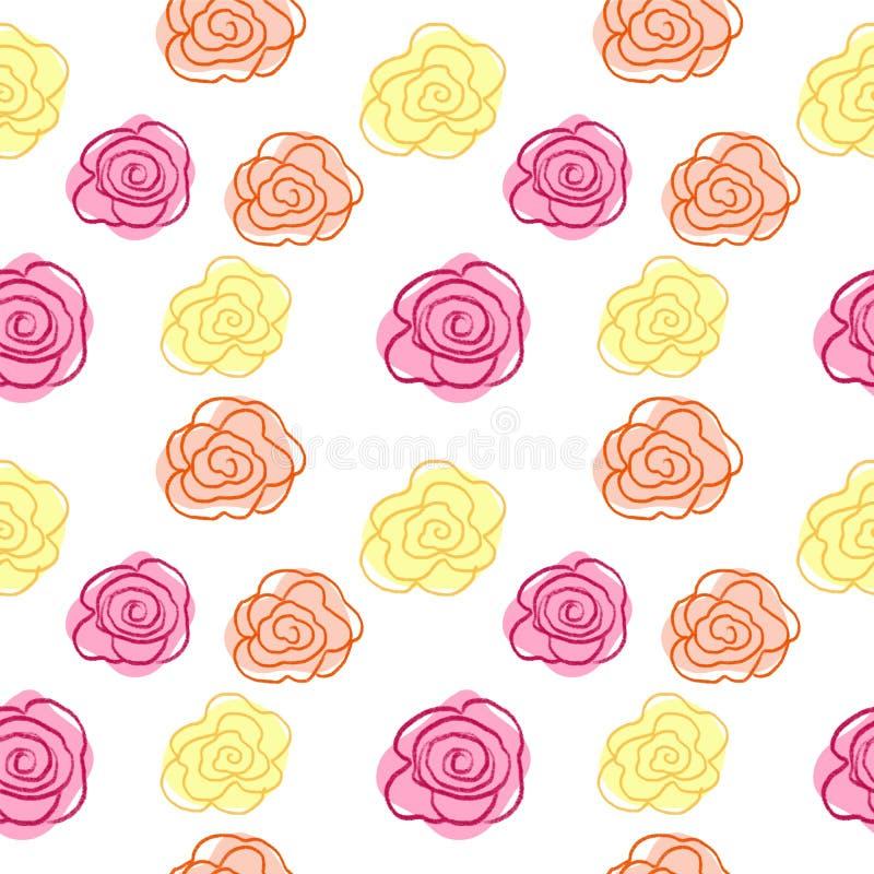Modèle sans couture de ressort - jaune, rose, croquis orange de fleur pour l'illustration de mode, impression, affiche, bannière, illustration stock