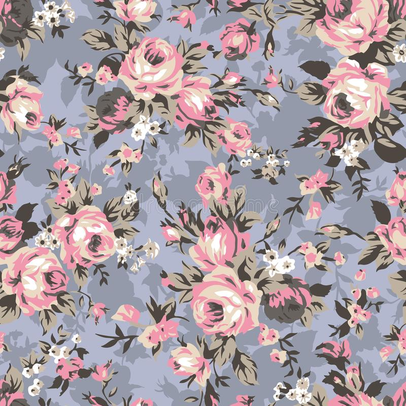 Modèle sans couture de roses de chintz de vintage illustration stock