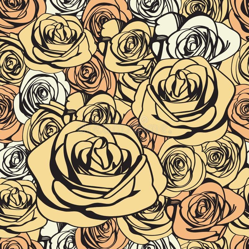 Modèle sans couture de roses enes ivoire Vecteur illustration de vecteur