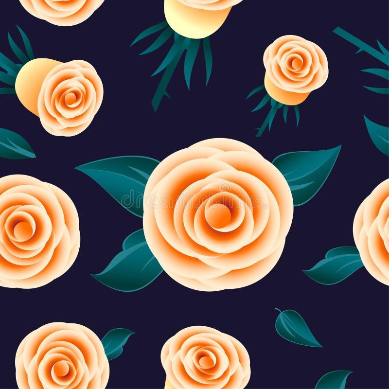 Modèle sans couture de roses jaunes Fleurs avec des feuilles sur le fond foncé illustration libre de droits
