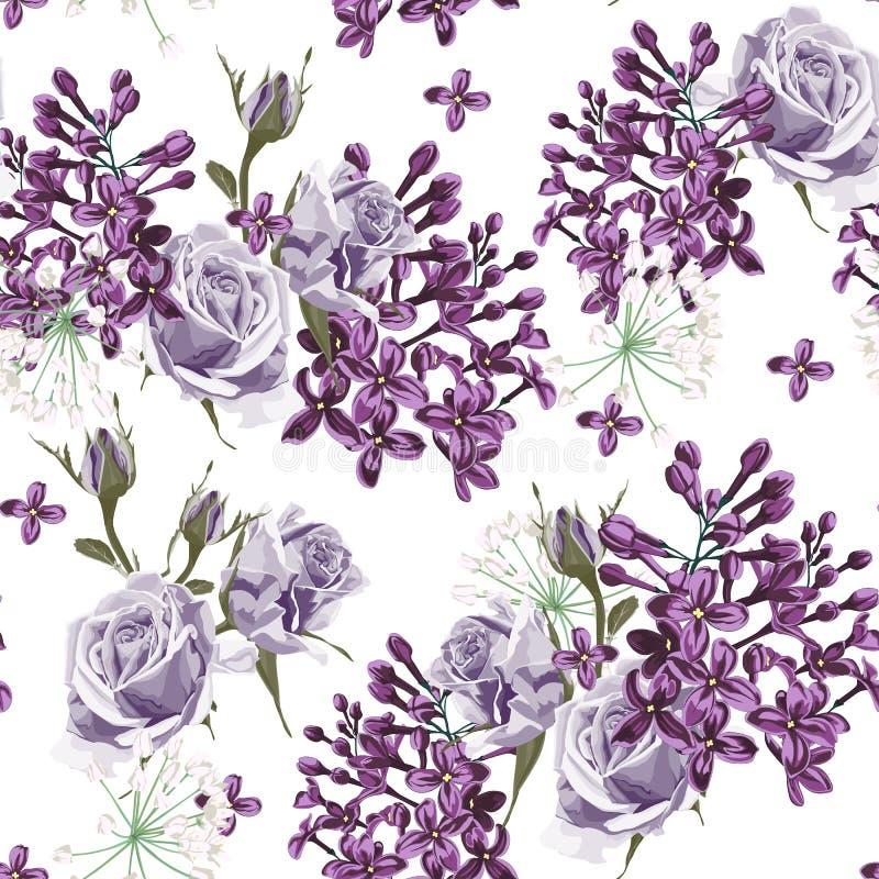 Modèle sans couture de roses lilas et violettes illustration stock