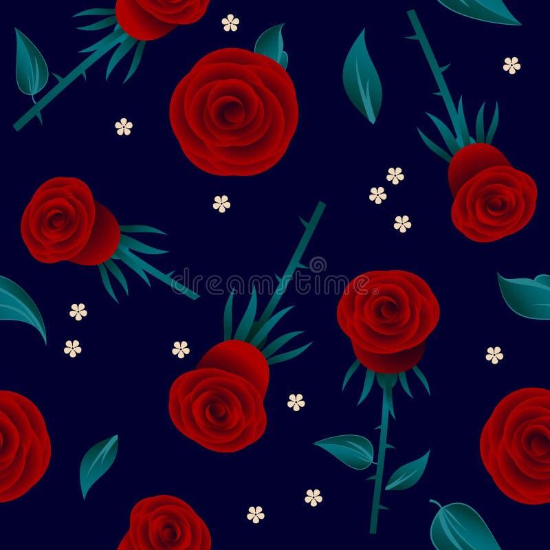 Modèle sans couture de roses rouges Roses avec des feuilles et de petites fleurs blanches sur le fond foncé illustration stock