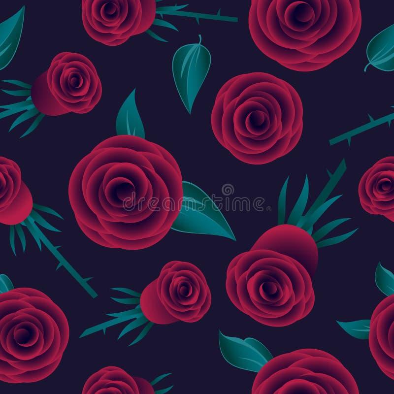 Modèle sans couture de roses rouges Roses avec des feuilles sur le fond foncé illustration stock