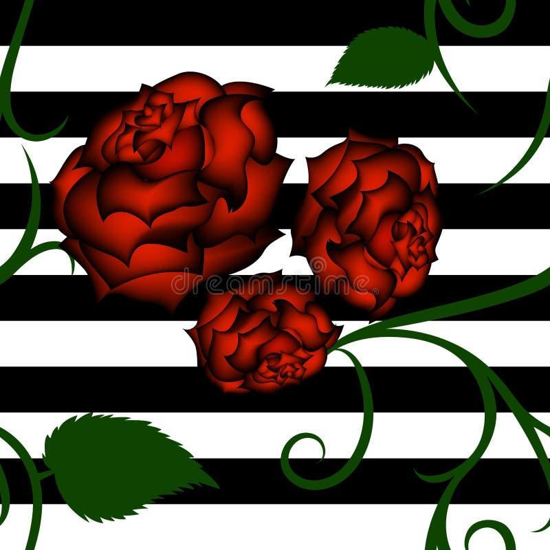 Modèle sans couture de roses rouges avec le filigrane vert illustration de vecteur