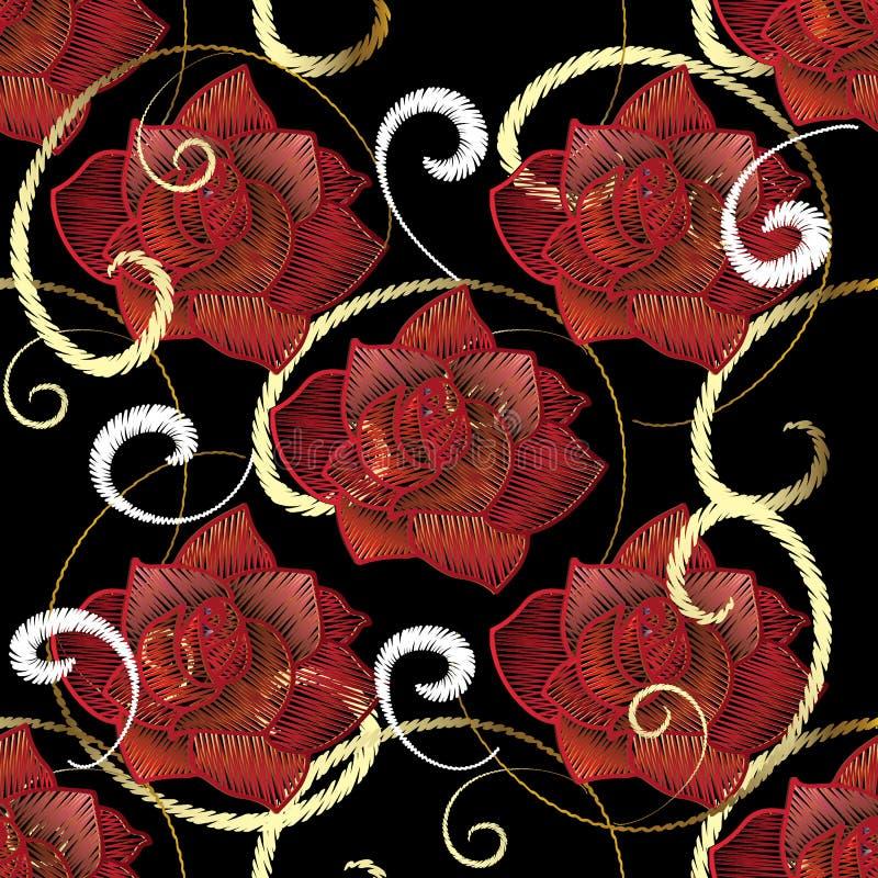 Modèle sans couture de roses rouges de broderie Fleur brodée par vecteur illustration stock