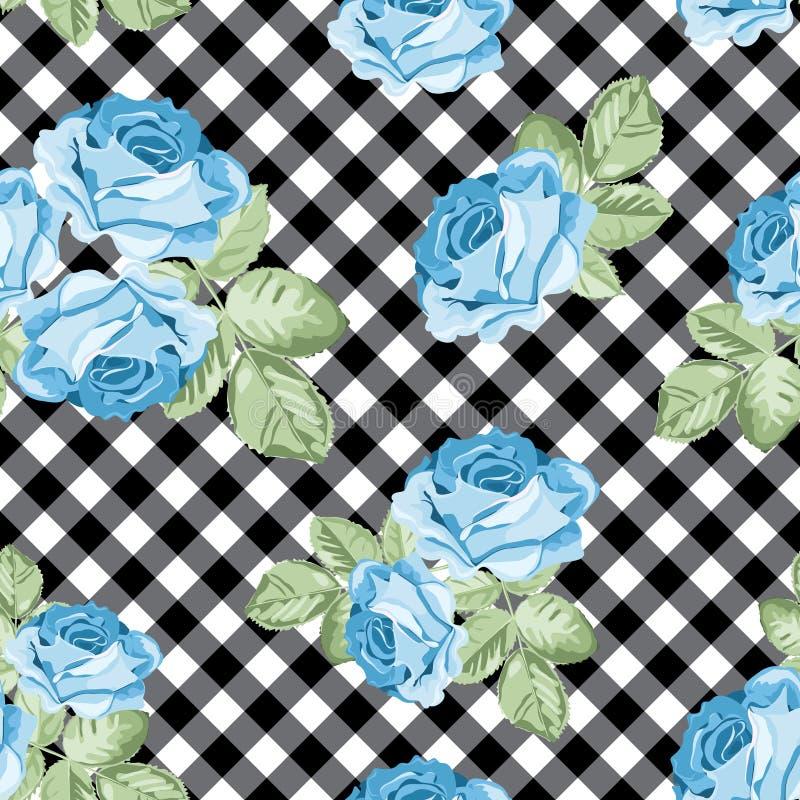 Modèle sans couture de roses sur le guingan noir et blanc, fond quadrillé Illustration de vecteur illustration de vecteur