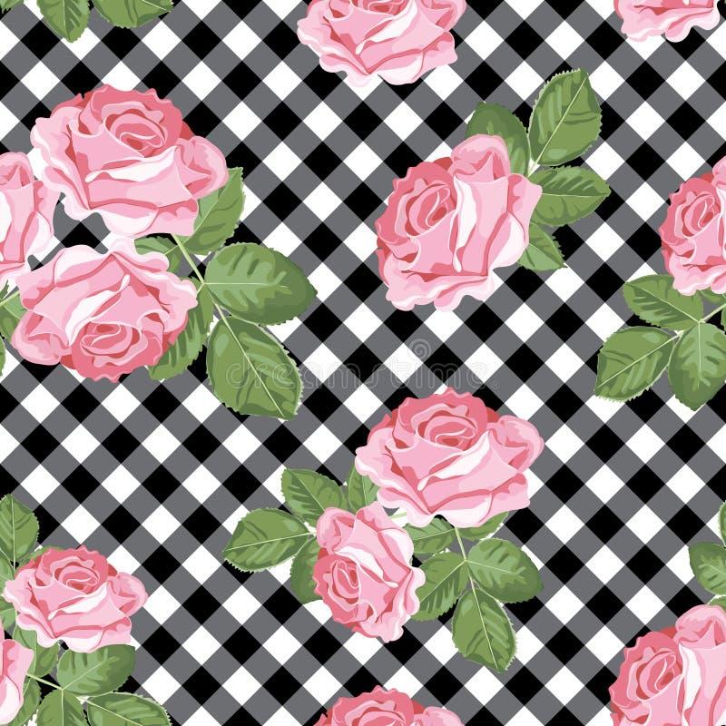 Modèle sans couture de roses sur le guingan noir et blanc, fond quadrillé Illustration de vecteur illustration stock