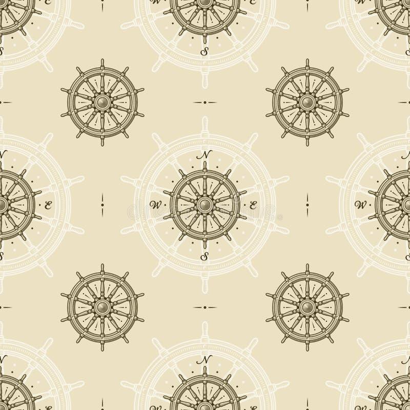 Modèle sans couture de roue de bateau de cru illustration stock
