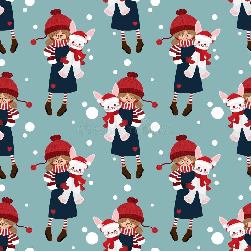 Modèle sans couture de saison des vacances de Noël avec le modèle sans couture de saison des vacances de Noël avec la fille migno illustration libre de droits